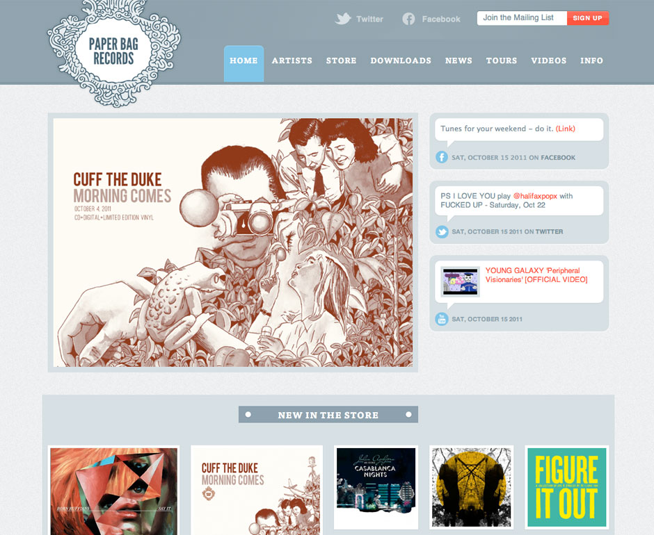 Paper Bag Records proposed website redesign image